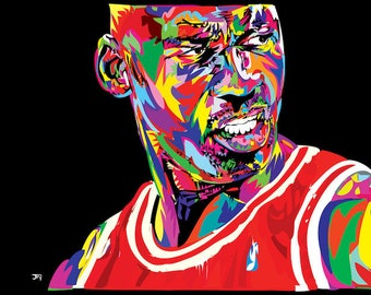 MJ 23 Michael Jordan Canvas Print Portrait Chicago Bulls Air Jordan His Airness Street Art Style Wall Decor Vibrant Color Pop Art Home Decor