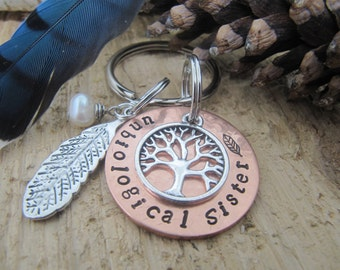 Soul Sisters key chain, hand stamped key chain, unbiological sister,  sister gift, Best friend gift, jewelry, BFF gift,gift for friend