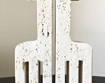 Fratelli Mannelli - Italian Carved Travertine Giraffe Bookends by Fili Mannelli