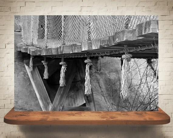Rope Bridge Photograph - Black White Photography - Fine Art Print - Home Wall Decor - Wood Bridge Pictures - House Warming Gifts - Wall Art