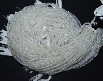 "White Rainbow Moonstone Faceted Rondelle Beads , 13"" Strand - White Rainbow Moonstone Rondelle , 2.5-3 mm"