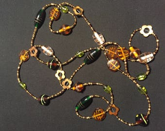 Long Green and Brown Beaded Necklace