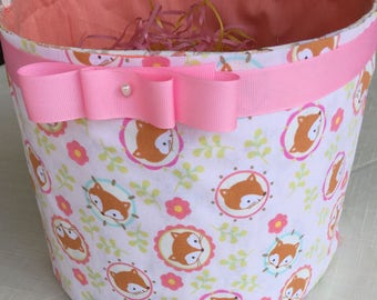 EASTER BASKET--Foxy  Basket pink, beige, cream color--Monogramming available.