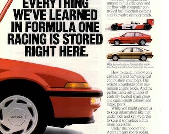 "1988 Honda Acura Integra vintage magazine ad ""Racing know how""(1705)"