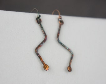 Fine Silver Zig Zag Earrings - Fine Silver Earrings - Antiqued Silver - Rainbow Patina