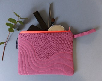 Pouch pink and orange embroidered colorful bag, embroidered pouch, graphic, quilted fabric, Sashiko embroidery