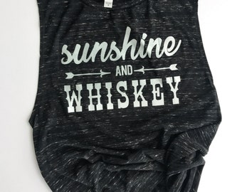 "Flowy ""Sunshine & Whiskey"" Muscle Tank, Top"