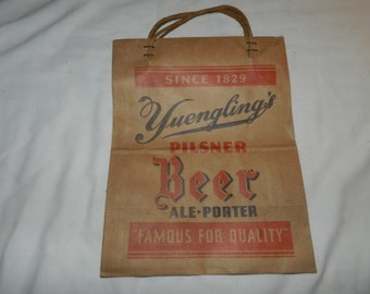 Vintage Yuengling's Pilsner Beer Ale-Porter Brown Paper Bag - Unused - Famous for Quality Since 1829 - Ephemera Advertising             49-3