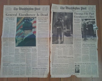 Lot of 2 Washington Post Newspaper front pages headlining Eisenhower's death