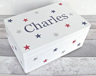 Personalised Children's Keepsake, Memory Box. Hand painted Wooden Box. Christening, New Baby, Birthday, Nursery Decor, Kids Bedroom Decor.