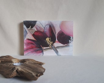 Abstract Floral Artwork. 'Tulips'- Bright Pink and Crimson Botanical Oil Painting. Vibrant, Modern Art. UK Artist