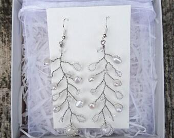 Bridal pearl and crystal bead vine earrings, Wedding pearl and crystal vine drop earrings, Wedding vine drop earrings, Bridal vine earrings