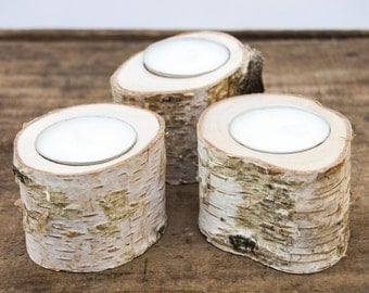 Silver Birch Candle Holders (set of 3), Small tealight holders, Wood Candle Holders, Wooden Candle Holders, Rustic Candle Holders