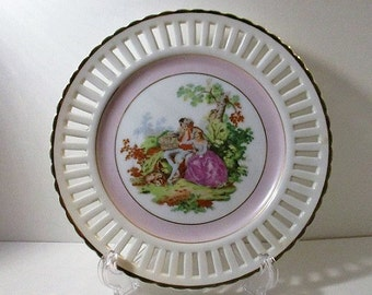 Wales China Latticed Plate, Vanity Dish, Hand Painted Romantic Courting Couple Scene,  Mid-Century Japan, 1950's