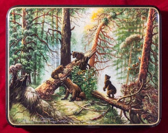 """Russian Fedoskino Lacquer Box - BIG SIZE - """"Morning in a pine forest"""" - Hand Painted in Russia - Collectible Art Quality"""