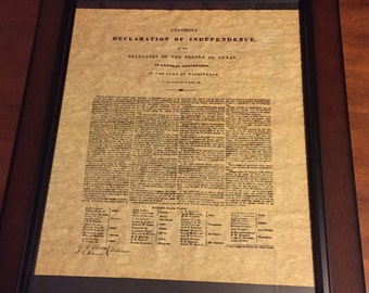 Republic of Texas Declaration of Independence Framed