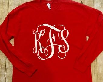 Long Sleeve Monogram Shirt - Monogram Long Sleeve T Shirt - Monogram Shirt -  T Shirt Monogram - Long Sleeve Shirt - Gift for her