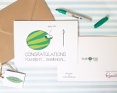Cheeky New Baby Card - Watermelon & Needle - Baby Jokes - Baby Girl - Baby Boy - Congratulations - Funny New Parents Card - Charity Card