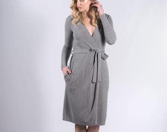 100% Pure Cashmere Grey Robe Style Long Line Cardigan with Belt
