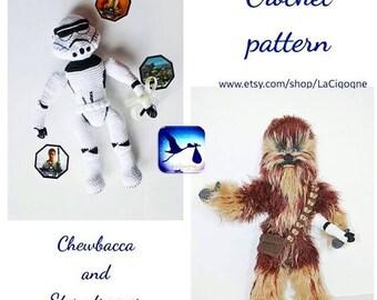 Combo Star Wars amigurumi crochet pattern Stormtrooper and Chewbacca crochet pattern Amigurumi toy Stormtrooper helmet LaCigogne toys