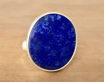 Lapis Lazuli Ring, Lapis and Silver Ring, Oval Lapis Ring, Gemstone Ring, Adjustable Ring, Oval Ring, Healing Crystals, Sterling Silver Ring