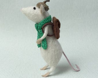 Needle Felted White Mouse Sculpture