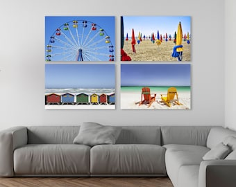 Ocean Print, Ferris Wheel print, Cabin decor, Beach Print, Coastal Print, Beach Decor, Beach Art,Set of 4, House beach, Colorful print decor