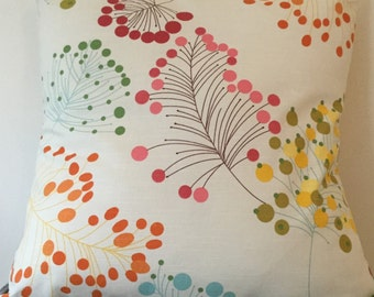 Botanical cream cushion in various sizes - pink / blue / yellow / green / red