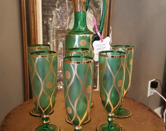 Green and Gold Pauly & C. Venetian Glass Decanter and 6 Glasses