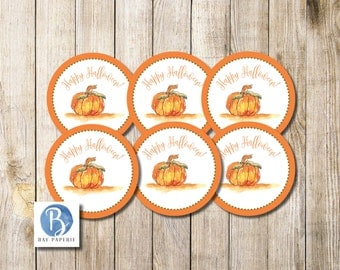 Instant Download! 2.5 inch Watercolor Pumpkin Halloween Tags   Pumpkin Favor Tags   Halloween Gift Tags   Halloween Cupcake Toppers