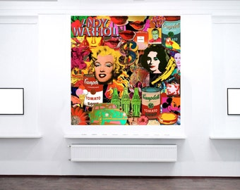 Street art Collage Andy Warhols Best 24 x 24 Canvas Print Giclee