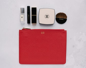 Saffiano Leather Red Pouch Monogram Personalised