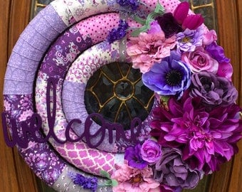Spring Welcome Wreath, Front Door Spring Wreath, Purple Fabric Wrapped Spring Wreath, Easter Welcome Wreath, Purple Spring Floral Wreath