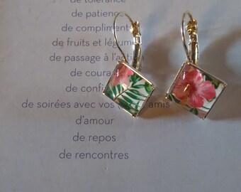 """Flowers"" square earrings"