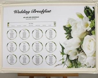 Cream Rose Wedding Table Plan