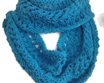 Turquoise scarf, Cotton scarf, Knit scarf, Summer Scarf, Infinity Scarf, Circle Scarf,  Gift for Women, Gift for Her, Womens Scarves,