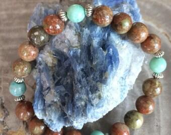 Autumn Jasper & Amazonite Medicine Wheel Stretch Bracelet! Premium Beads Healing Bracelet! Natural Healing Jewelry Meditation