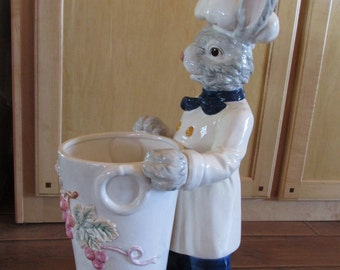 Tall 'Top Chef' Rabbit with Vase