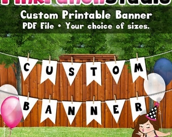 DIY Printable Party Banner Your Theme Custom Design