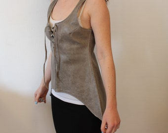 Grey Medieval leather tunic. Elvish outfit. LARP's tunic
