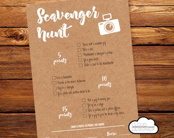 Scavenger Hunt Bachelorette Party // Bachelorette Party Game // Hens Party // Printable