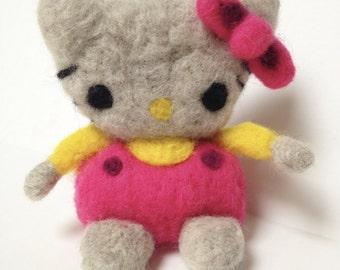 Hello Kitty Needle Felted Wool Figure~Collectible