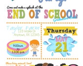 Graduation Pool Party Invitations, Summer pool party Birthday Invitations, Pool Party party, End of the school Year Party invitations