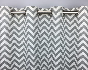Grey Chevron Curtains  - FREE SHIPPING- Ash Grey Drapes- Drapery Panels- Rod Pocket- Grommets- Lined/Unlined- Valance- 24 50 x 84 96 108 120