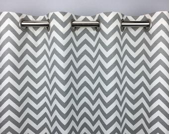 Grey Chevron Curtains   FREE SHIPPING  Ash Grey Drapes  Drapery Panels  Rod  Pocket