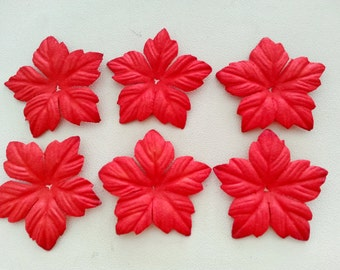 50, 100 pcs. CHRISTMAS die cut mulberry paper flower red color 4 cm.,scrapbook,card making,wedding decoration