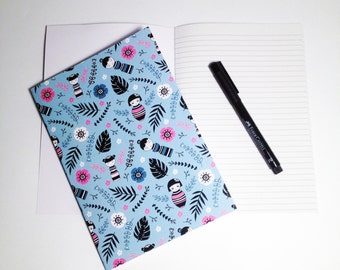 A5 Kokesh Doll Notebook with Lined pages and illustrated cover / kokeshi / doll / flowery /floral pattern