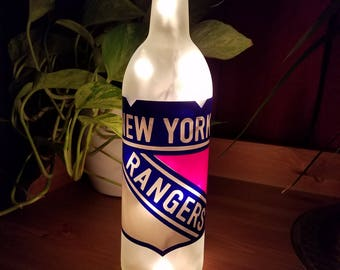 New york rangers etsy new york rangers wine bottle accent lamp man cave gifts for him birthday negle Gallery