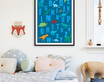 Dinosaur ABC Boy Nursery Printable Children Wall Art,ABC Boy Art,ABC Dinosaur Nursery Decor,Dinosaur abc Children,abc dinosaur boys room art