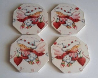 Christmas angel coasters -angel decor - christmas decor - secret santa gifts